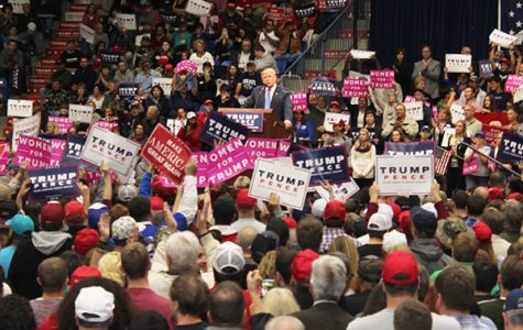 Supporters rally to see Trump at work