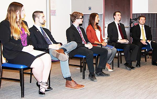 Last Monday, student government president candidates (left to right) Gretchen Shepard, John Kopsick, Sam Miller, Sarah Francowic, Joe Evanko and Brady Willis debate relevant issues to further the presidential race.