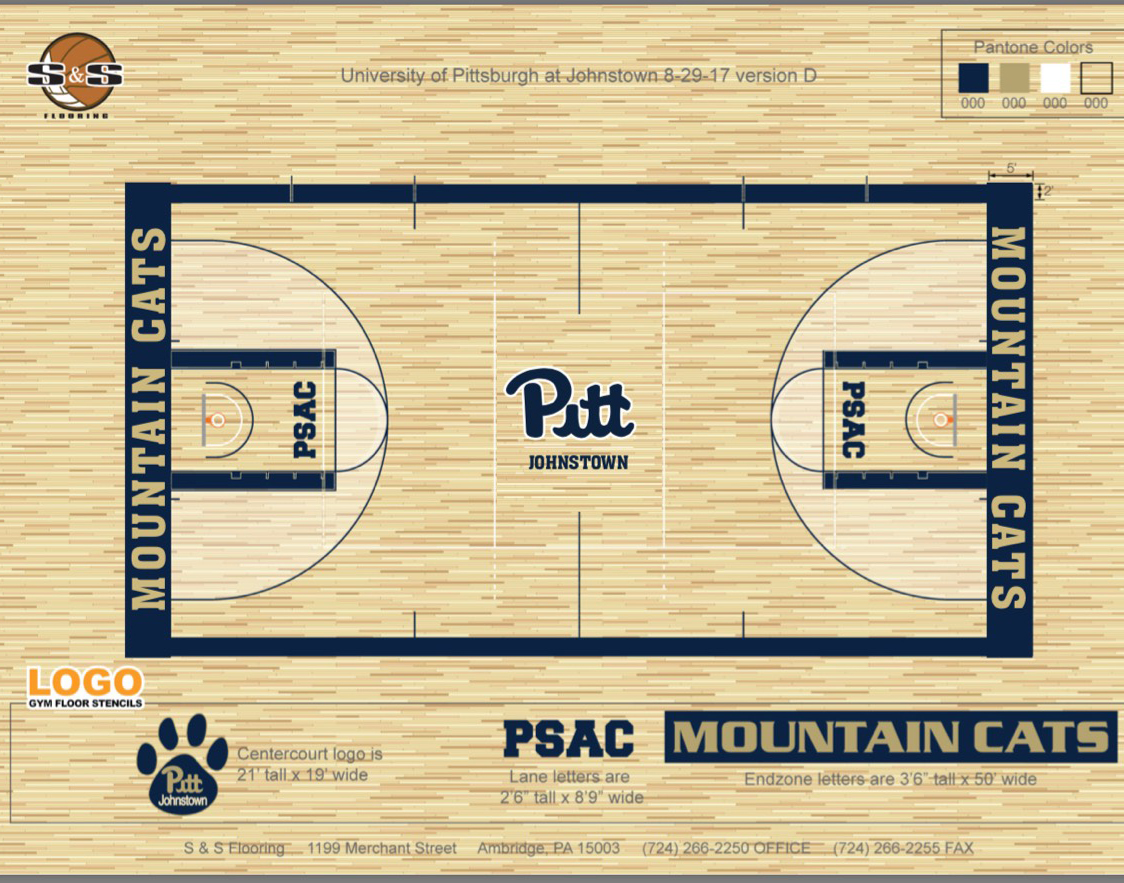The+Pitt-Johnstown+sports+center+renovation+is+planned+to+start+on+Sept.+25.+The+composite+floor+will+be+covered+by+a+hardwood+surface.