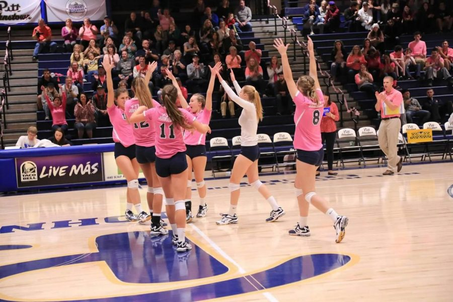 Pitt-Johnstown+volleyball+members+celebrate+an+ace+against+California+%28Pa.%29+Friday+night+in+their+annual+dig+pink+game.+The+Mountain+Cats+won+3-1%2C+to+improve+to+20-6+overall+and+10-3+in+the+conference.