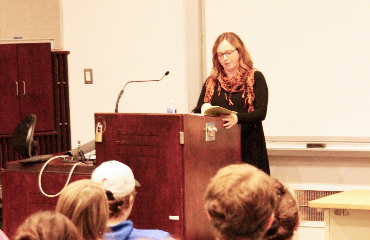 "Second Fall Reading Series speaker Marissa Landrigan reads to the audience from her book, ""The Vegetarian's Guide to Eating Meat: A Young Woman's Search For Ethical Food"" Oct. 19 in Blackington Hall."