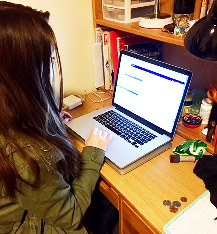 Senior Nicole Panichella schedules her last spring semester at Pitt-Johnstown.