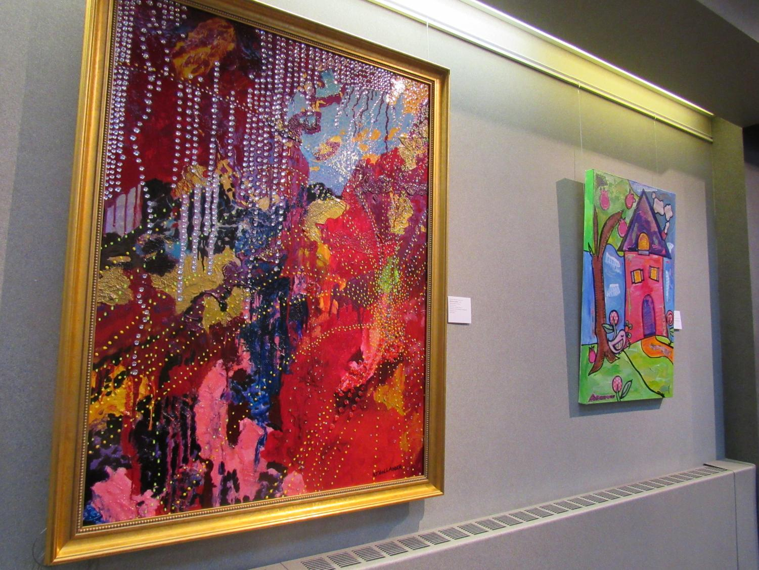 Diamond Jubilee, left, painted by Altoona site Museum Coordinator Barbara Hollander, is one of 30 works on display at the Pasquerilla Performing Arts Center.