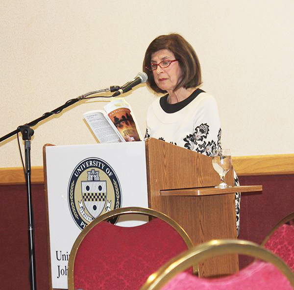 "Novelist and Pitt-Oakland professor Kathleen George reads from her novel, ""The Johnstown Girls,"" at the 2014 Western Pennsylvania Literature Conference."