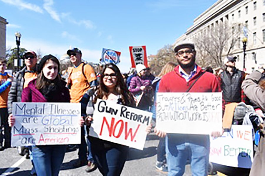 Junior+Kristy+Speranza%2C+freshman+Maddie+Brown+and+sophomore+Chris+Nichols+brought+signs+to+the+national+March+for+Our+Lives+last+Saturday.+