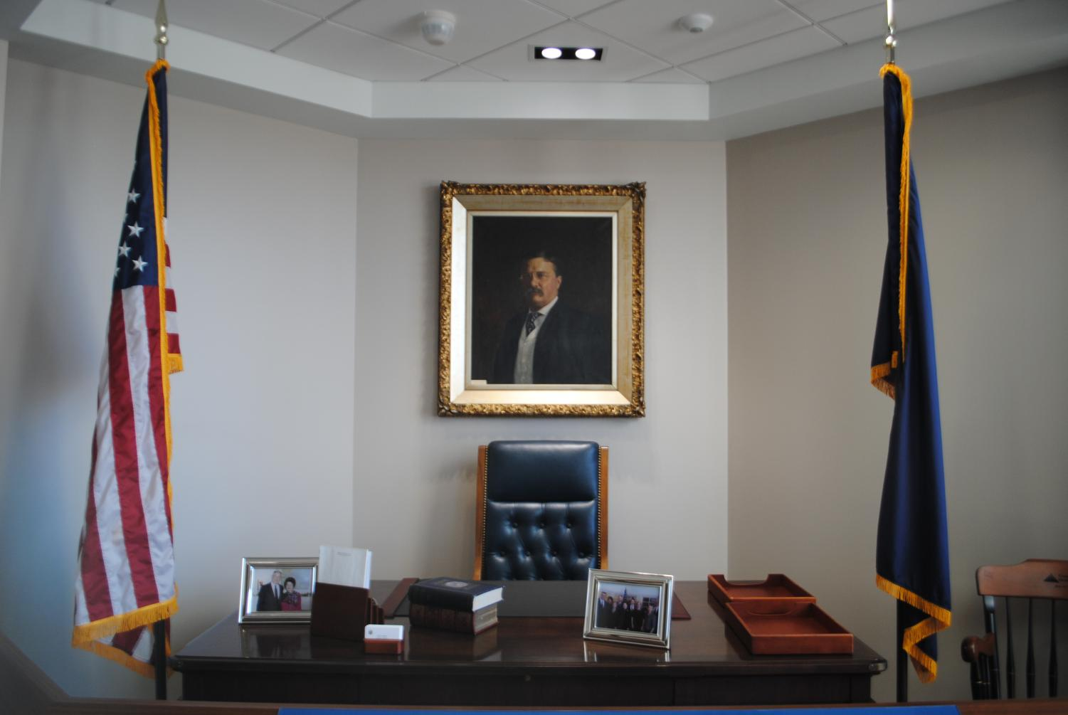 No descriptions accompany many of the artifacts on display at the Murtha Center, including a Teddy Roosevelt portrait hanging above Murtha's desk.