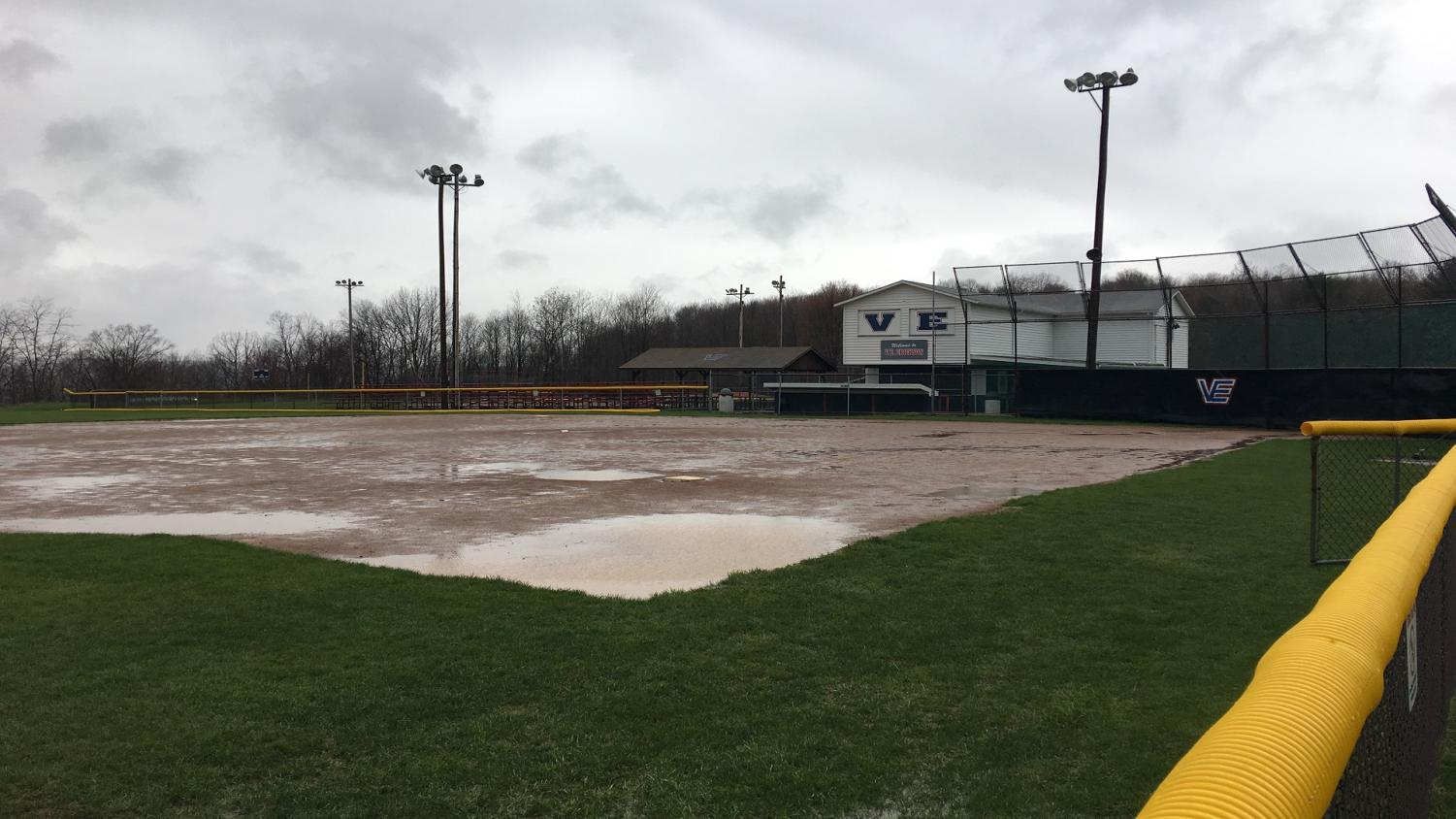 The field at the V.E. Erickson Complex along Eisenhower Boulevard was flooded Friday and  led to a postponement of a doubleheader against Lock Haven University that day. It was the 12th postponement or cancellation for the team this season.