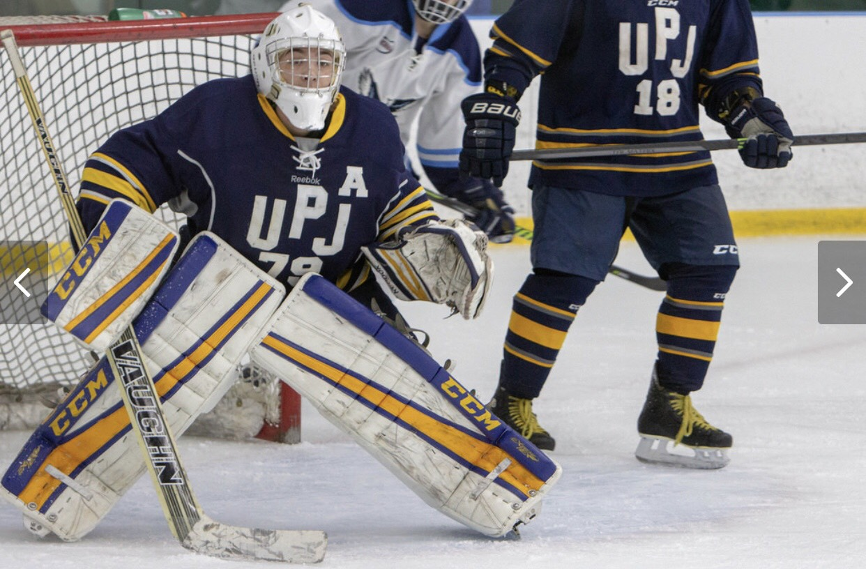 Senior goaltender James Borriello guards the goal during the second game of the team's Connecticut trip aginst Southern Connecticut State on Oct. 13.