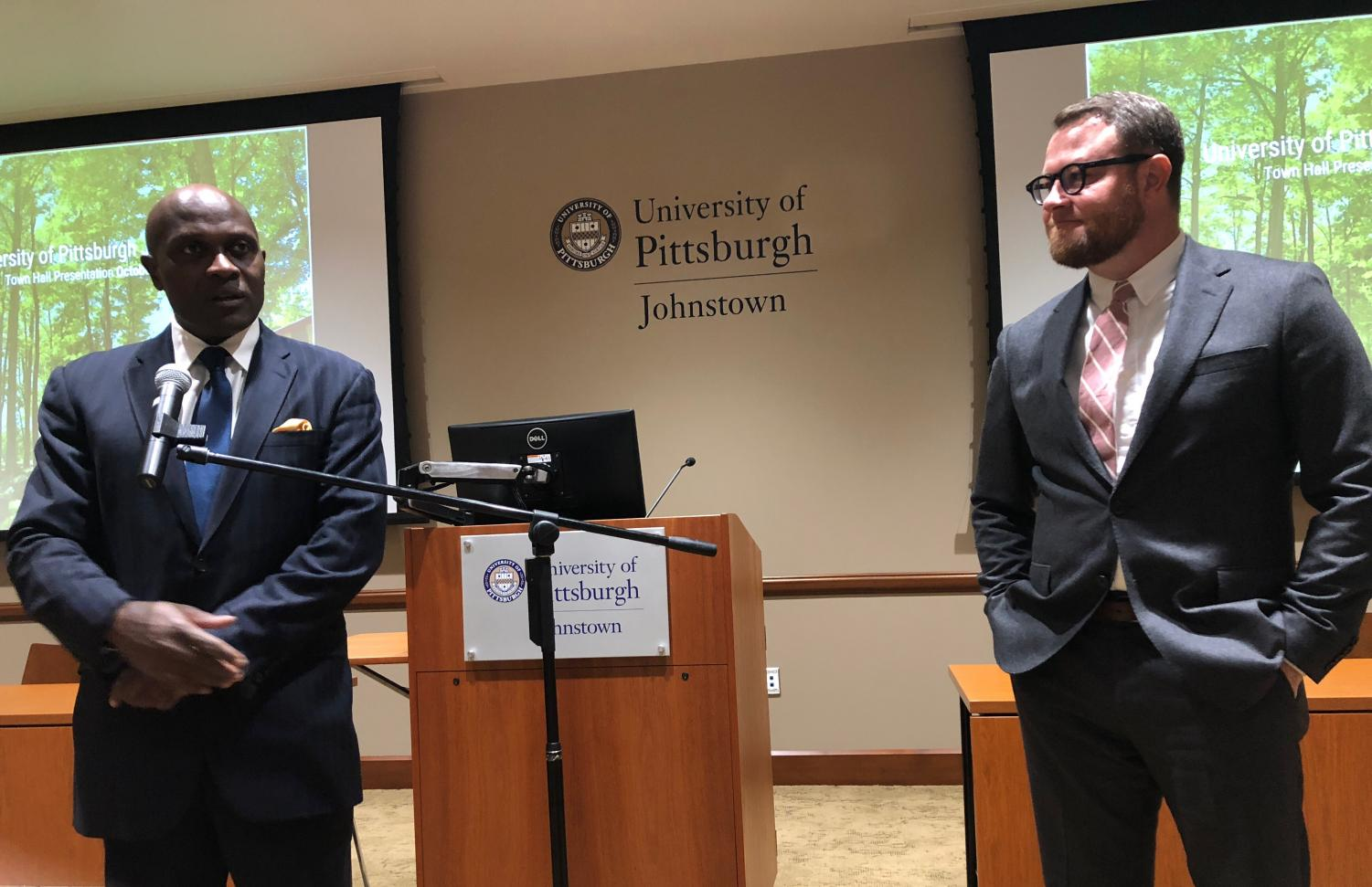 Pitt-Johnstown President Jem Spectar introduces the campus' new Communications and Public Relations Director Eric Sloss at an Oct. 3 Town Hall meeting.