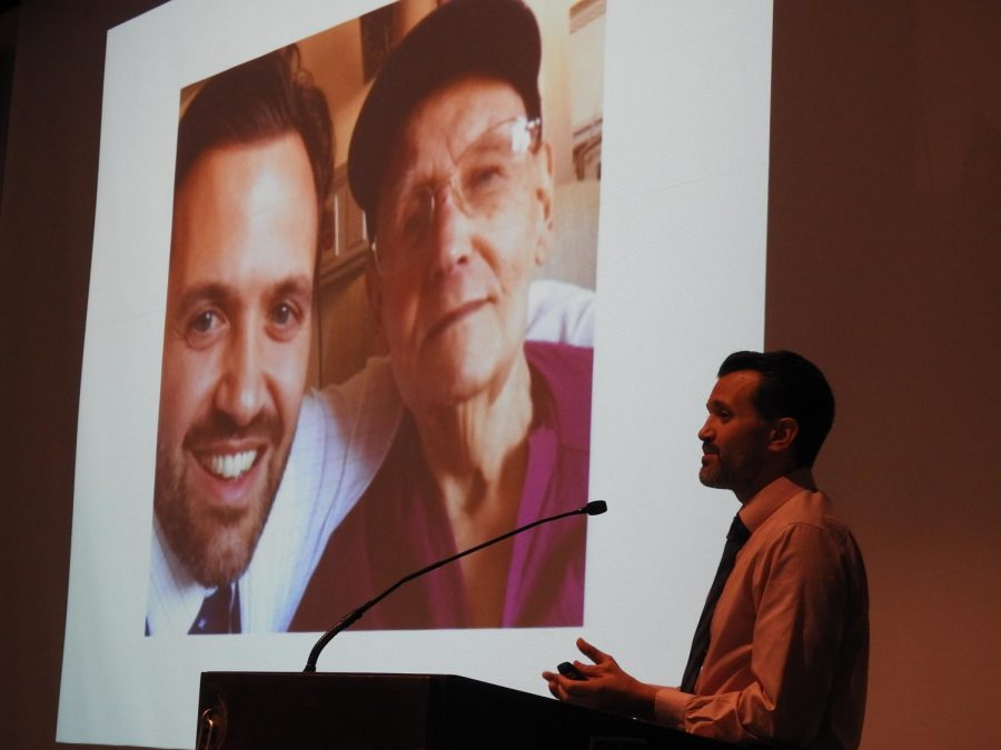 Dr.+Gaetan+Sgro+recalled+a+story+last+Tuesday+of+a+92-year-old+World+War+II+veteran+he+met+while+working+as+a+physician+to+Pitt-Johnstown+students+in+Blackington+Hall.
