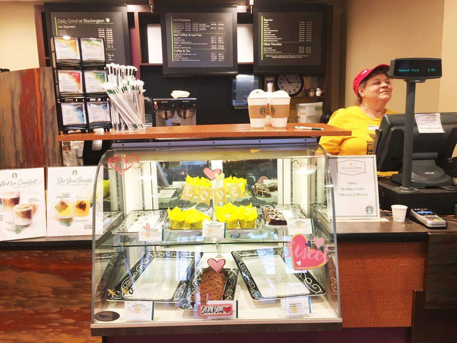 The Daily Grind employee Diane Venet said daytime staff member Debbie Casteel put Valentine's Day stickers about three weeks ago on the food stop's shpwcase glass.