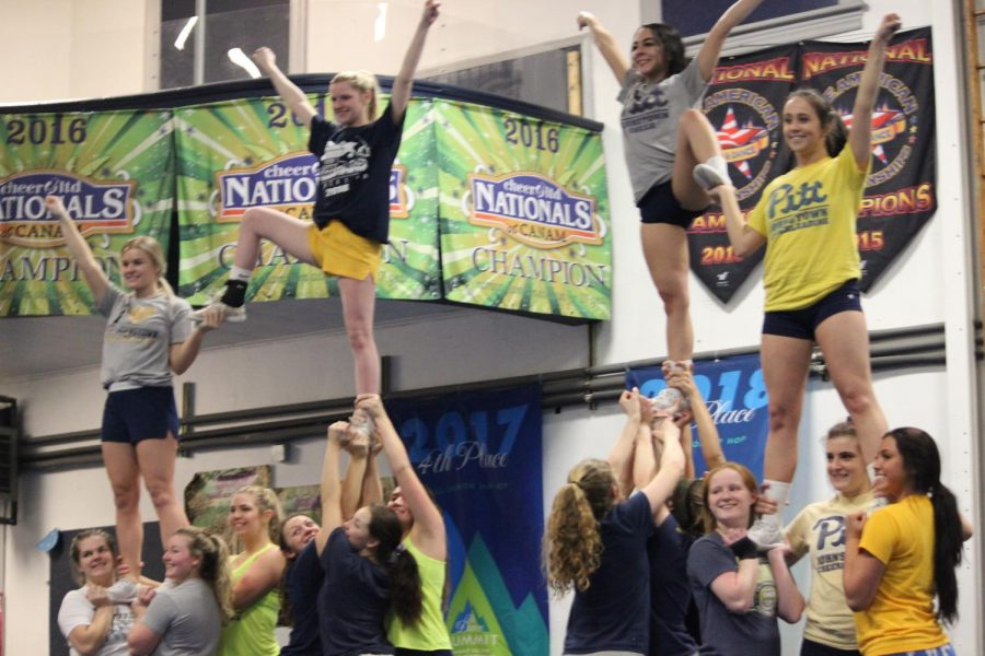 Pitt-Johnstown+cheerleaders+prepare+Feb.+13+for+The+National+Cheerleaders+Assocaition+competition+at+Turner%E2%80%99s+All-Star+Cheerleading.