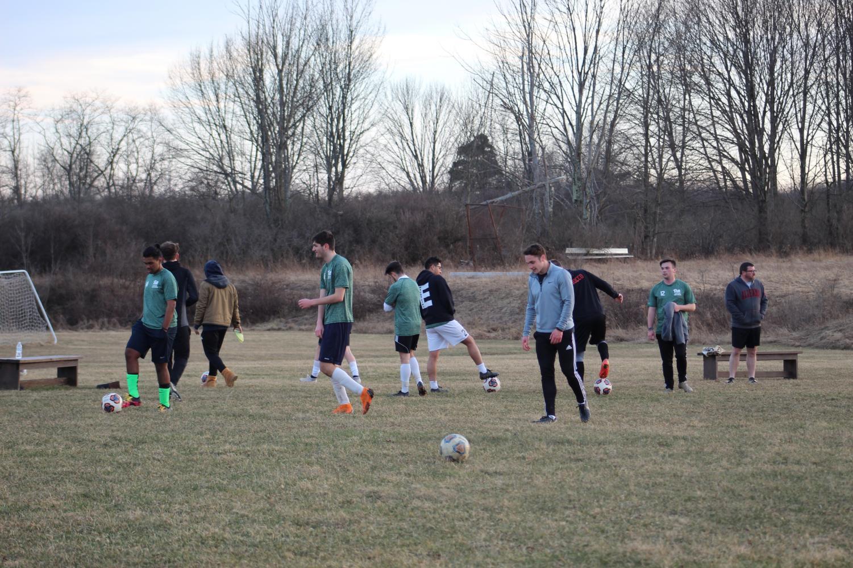 The Pitt-Johnstown men's soccer team at the Metlife complex April 2.