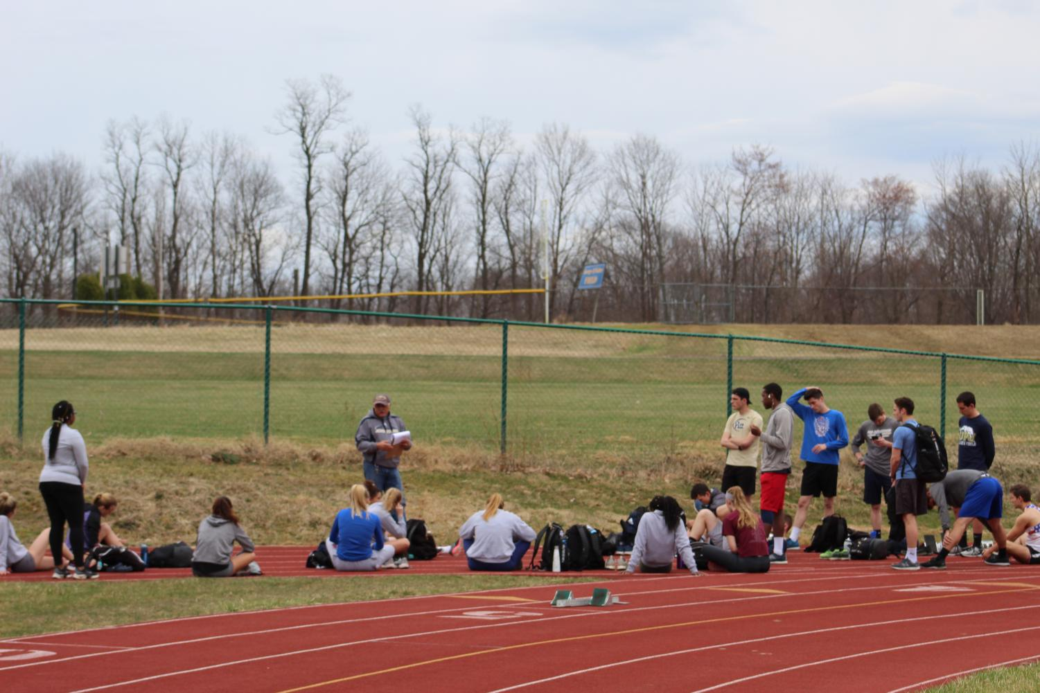 The track and field team trained outdoors for the for Bucknell University Distance Carnival April 9.