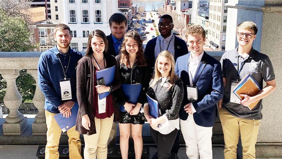 Several+Pitt-Johnstown+students%2C+staff+members+and+alumni+toured+the+Pennsylvania+State+Capital+building+March+26+as+part+of+the+annual+Pitt+Day+in+Harrisburg+event.+Pictured%3A+student+government+members+stand+on+a+balcony+outside+of+Lt.+Gov.+John+Fetterman%E2%80%99s+office.